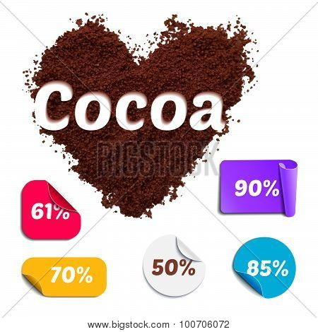 Heart Shaped Realistic Cocoa Powder with Labels