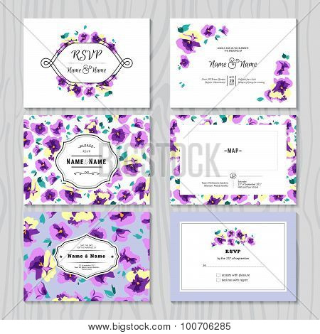 Set of Wedding Invitation Templates Cards