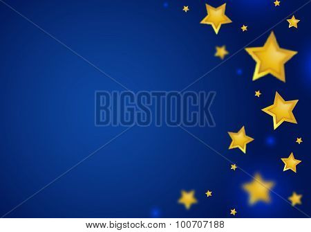 Abstract Blue Background with Gold  Stars Border