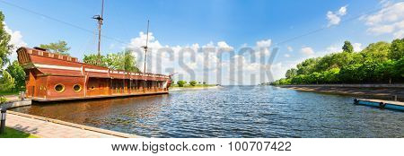 Novi Petrivtsi, Ukraine - May 27, 2015 Mezhigirya residence of ex-president of Ukraine Yanukovich. Beautiful view of the lake with ship-restaurant