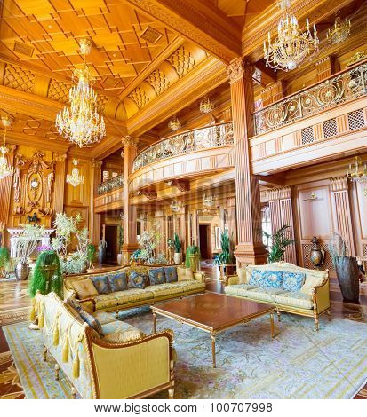 Novi Petrivtsi, Ukraine - May 27, 2015 Mezhigirya residence of ex-president of Ukraine Yanukovich. Main hall of luxurious