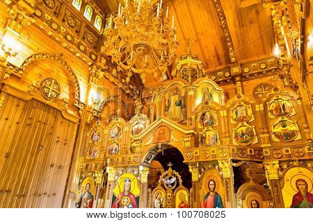 Novi Petrivtsi, Ukraine - May 27, 2015 Mezhigirya residence of ex-president of Ukraine Yanukovich. Closeup of church interior located inside the house