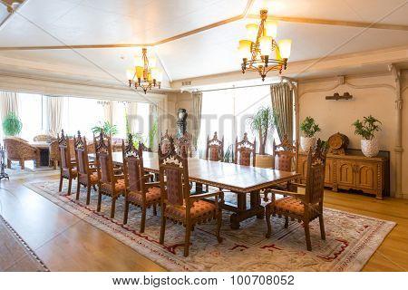 Novi Petrivtsi, Ukraine - May 27, 2015 Mezhigirya residence of ex-president of Ukraine Yanukovich. Residential hall of modern interior
