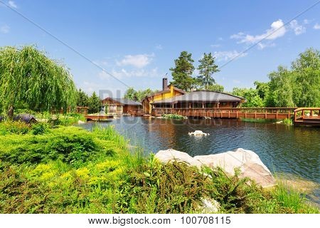 Novi Petrivtsi, Ukraine - May 27, 2015 Mezhigirya residence of ex-president of Ukraine Yanukovich. Beautiful view of spa complex