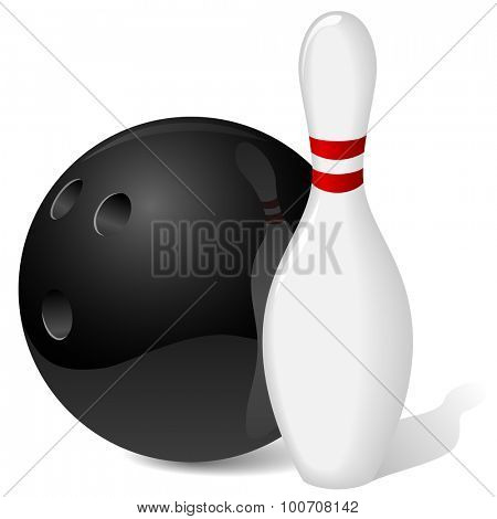 Bowling ball and pin isolated on white.