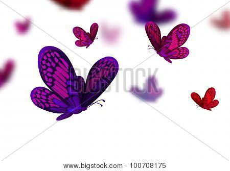 Abstract Vector Background with Flying Butterflies