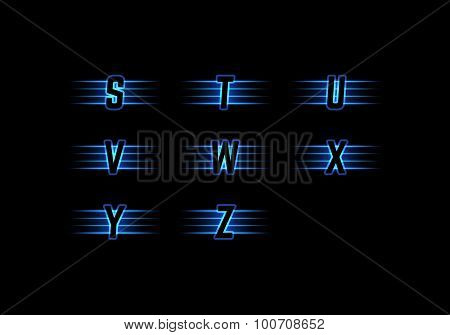 Part of Blue Neon Light Alphabet