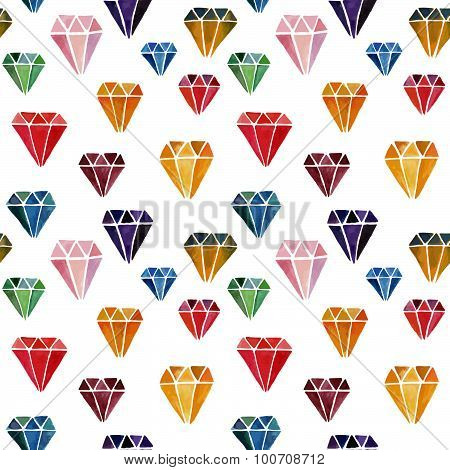 Colorful Seamless Pattern with Watercolor Hand Drawn Diamonds
