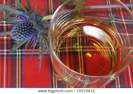 Whiskey And Thistle On Tartan