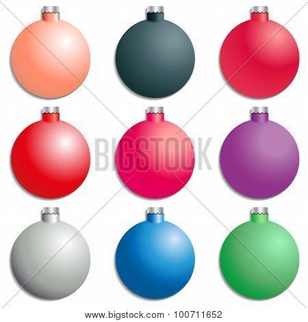 A Set Christmas Tree Decorations, Vector Illustration.
