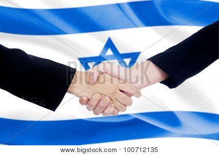 Handshake With Israel Flag Background