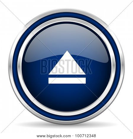eject blue glossy web icon modern computer design with double metallic silver border on white background with shadow for web and mobile app round internet button for business usage
