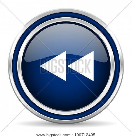 rewind blue glossy web icon modern computer design with double metallic silver border on white background with shadow for web and mobile app round internet button for business usage