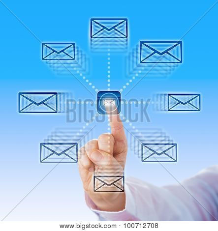 Index Finger Sending Email Icons Into Cyber Space