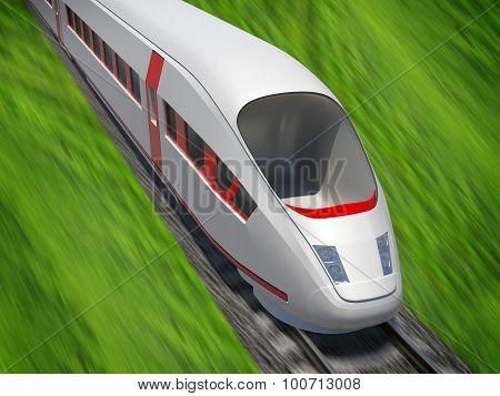 Modern train moving forward on rail-tracks