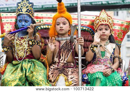 Children Dressed As Lord Krishna And Radha