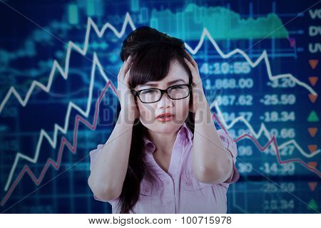 Stressful Worker With Declining Stock Market