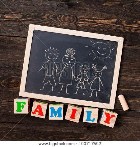 drawn on a chalkboard family