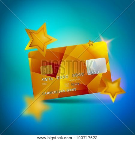 Gold Shiny Plastic Credit Card on Blue Background with Stars