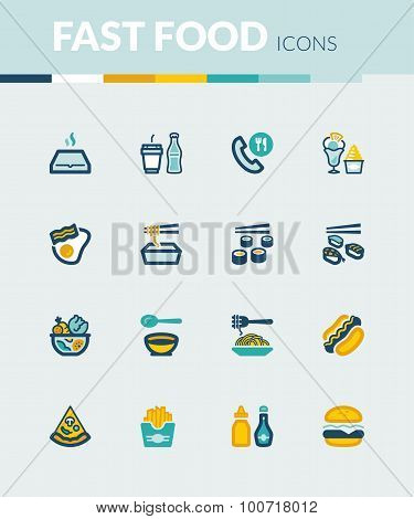 Fast Food And Junk Food Colorful Flat Icons