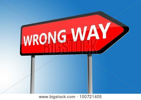 Illustration Of Wrong Way Directions Sign
