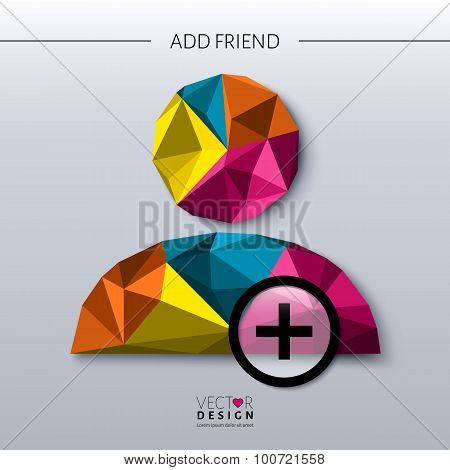 Add friend - social icon in polygon style. Vector.