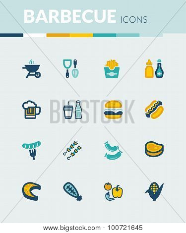 Barbecue Colorful Flat Icons