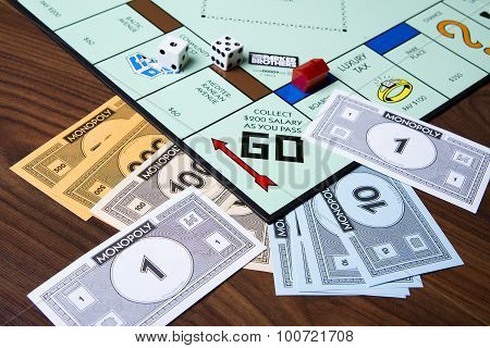 Game of monopoly being played