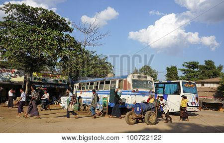 Vehicles Parking At The Bus Station