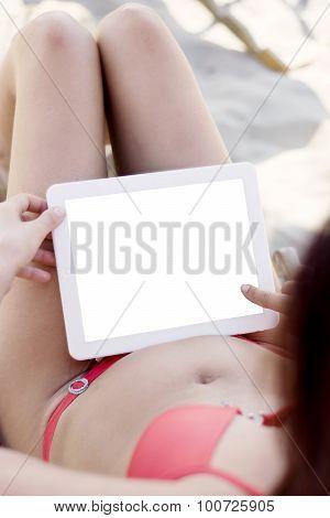 Woman On The Beach In Red Bikini