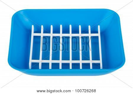 Blue Plastic Soap Dish Isolated On White