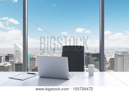 A Workplace In A Modern Panoramic Office With New York City View. A White Table, Black Leather Chair