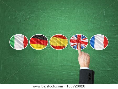 A Concept Of Foreign Language Studying Process. A Finger Is Pointing Out The Unites Kingdom Flag As
