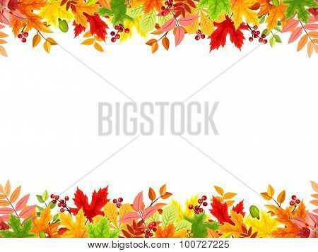 Horizontal seamless background with colorful autumn leaves. Vector illustration.