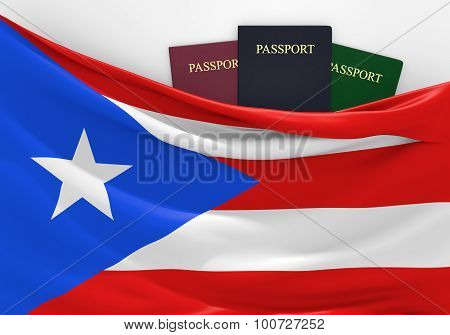 Travel and tourism in Puerto Rico, with assorted passports