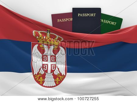 Travel and tourism in Serbia, with assorted passports