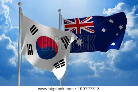 South Korea and Australia flags flying together for diplomatic talks