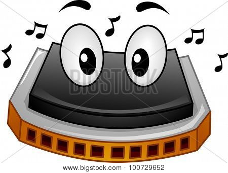 Mascot Illustration of a Harmonica Surrounded by Music Notes