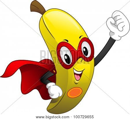 Mascot Illustration of a Banana Wearing a Cape and a Mask