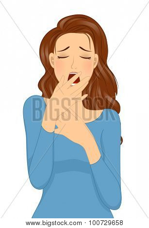 Illustration of a Sleepy Girl Covering Her Mouth While Yawning