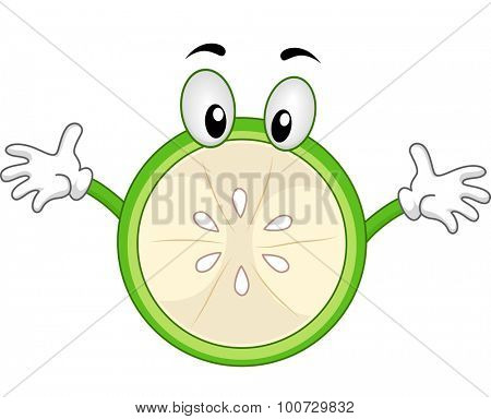 Mascot Illustration of a Green Lemon with Arms Wide Open