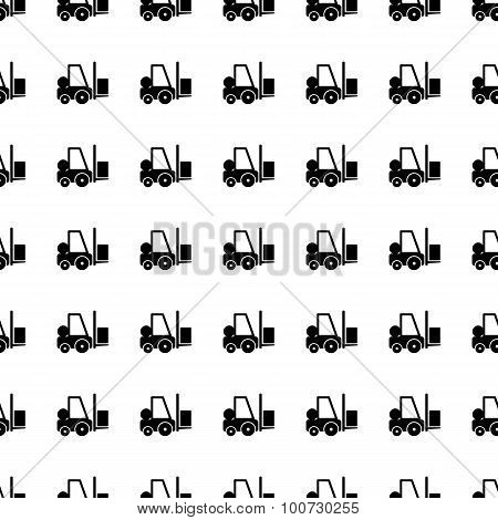 Forklift Seamless Pattern. Vector