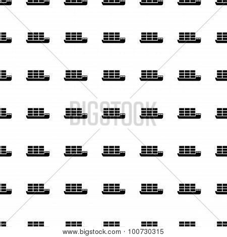 Dry Cargo Ship Seamless Pattern. Vector