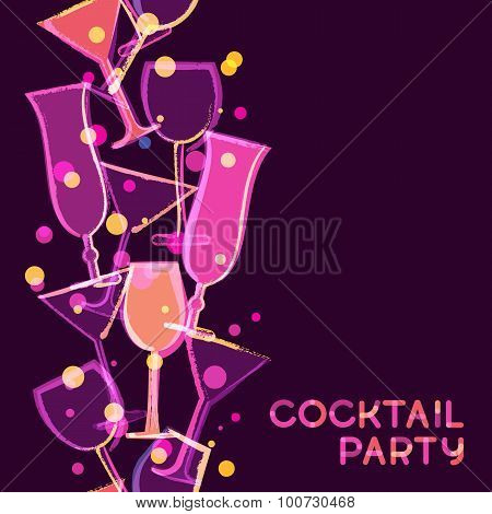 Abstract Multicolor Glowing Cocktail Glass. Vector Watercolor Seamless Vertical Background.