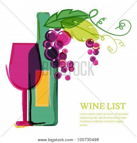 Wine Bottle, Glass, Pink Grape Vine, Watercolor Illustration. Abstract Vector Background Design Temp
