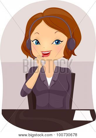 Illustration of a Front Desk Officer Handling a Call