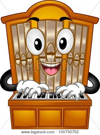 Mascot Illustration of a Pipe Organ Pressing its Keys