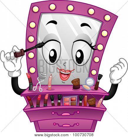 Mascot Illustration of a Vanity Mirror Applying Make Up