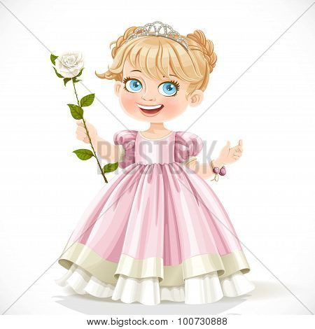 Little Cute Princess In Tiara With Beautiful White Rose On A Long Stalk Isolated On A White Backgrou