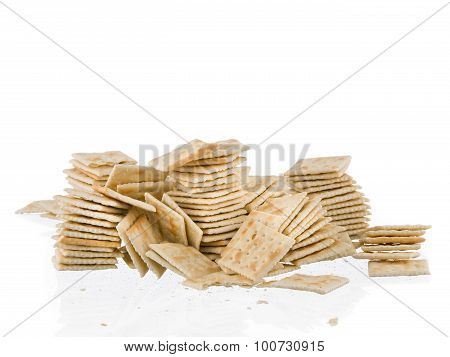 Soda Crackers Stacks Fallen Mess Isolated On White Background